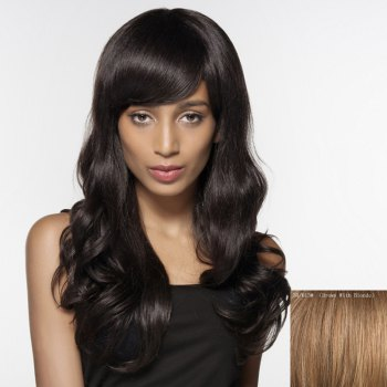 Faddish Long Side Bang Wavy Siv Hair Human Hair Wig