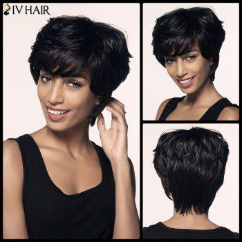 Short Siv Hair Fluffy Bouffant Neat Bang Straight Human Hair Wig