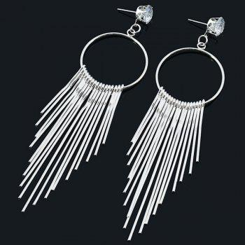 Rhinestone Circle Fringe Earrings
