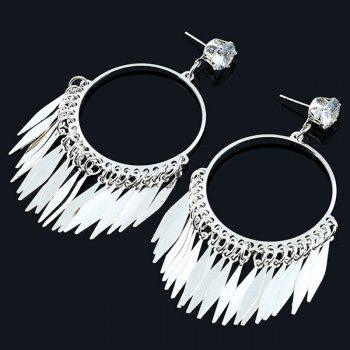 Rhinestone Circle Leaf Fringe Earrings