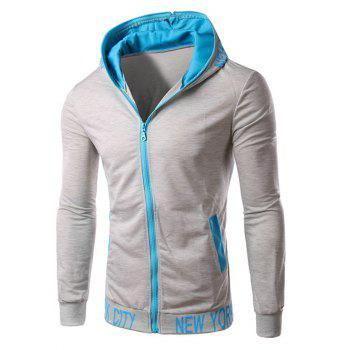 Color Block Hooded Zipper Design Hoodie