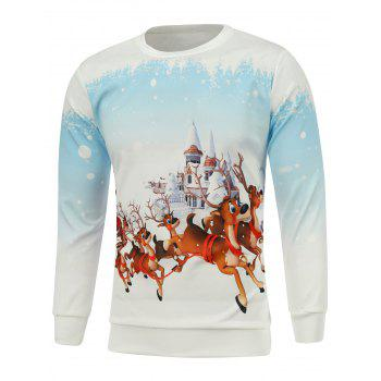 Christmas Castle Elk Printed Sweatshirt