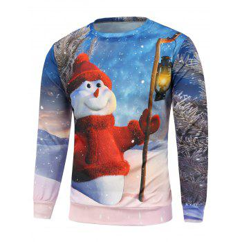 Christmas Snowman Printing Long Sleeve Sweatshirt