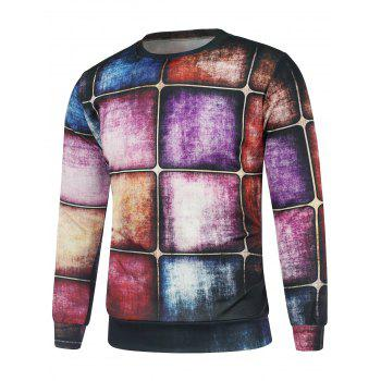 Plaid Wall Printing Long Sleeve Sweatshirt