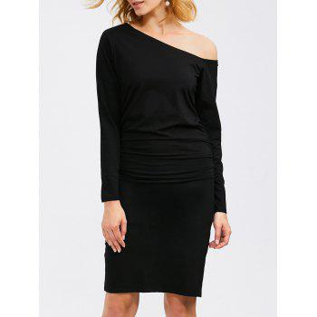 Long Sleeve Skew Neck Ruched Bandage Dress