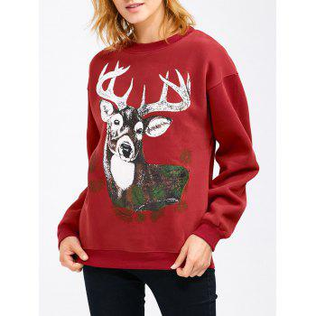 Drop Shoulder Christmas Reindeer Sweatshirt