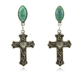 Faux Gem Heart Crucifix Earrings