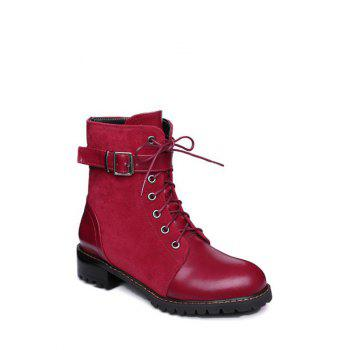 Red Combat Boots Cheap Casual Style Online Free Shipping at ...