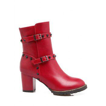 Double Buckle Straps Rivet Chunky Heel Boots