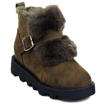 Buy Fuzzy Buckle Strap Platform Short Boots ARMY GREEN