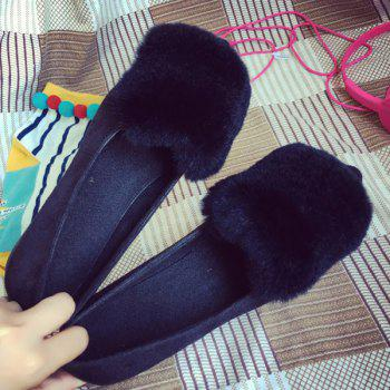 Furry Pointed Toe Flat Shoes