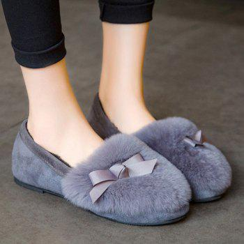 Bowknot Furry Flat Shoes