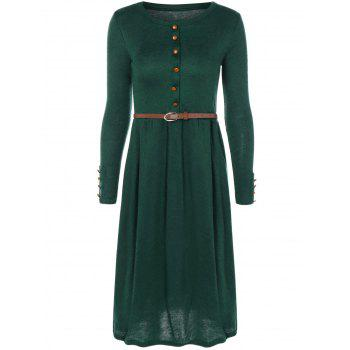 Belted Midi Knit A Line Modest Jumper Dress