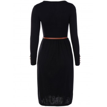 Belted Midi Knit A Line Modest Jumper Dress - BLACK M