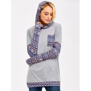 One Pocket Longline Geometric Pattern Hoodie