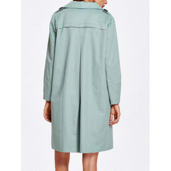 Striped Hem Button Up Trench Coat - PEA GREEN S