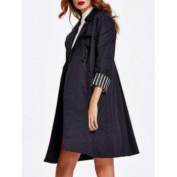Striped Hem Button Up Trench Coat