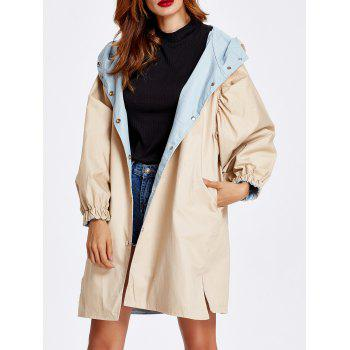 Hooded Letter Print Windbreaker Coat