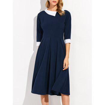 Color Block Casual Midi Dress