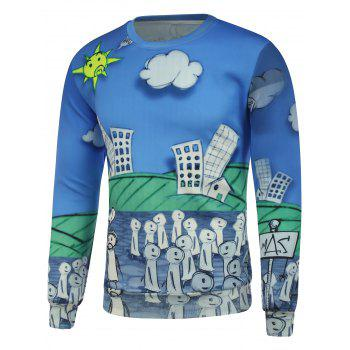 Cartoon 3D Printing Crew Neck Sweatshirt