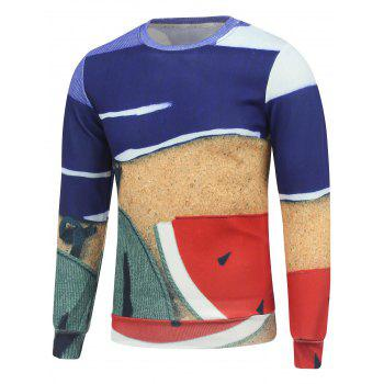 Watermelon Printing Color Block Crew Neck Sweatshirt