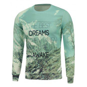 Dreams Snow Mountain Print Crew Neck Sweatshirt