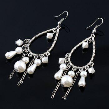 Teardrop Faux Gem Beads Tassel Earrings