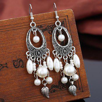 Vintage Leaf Oval Beads Earrings