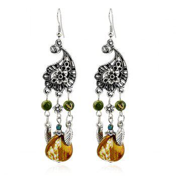 Vintage Flower Leaf Beads Earrings