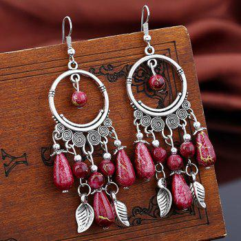Vintage Leaf Beads Drop Earrings