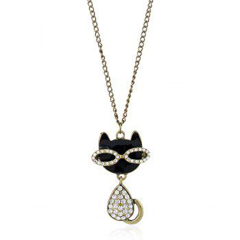Rhinestoned Kitten Pendant Sweater Chain