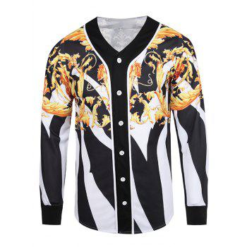 V Neck 3D Color Block Floral and Stripe Single Breasted Jacket