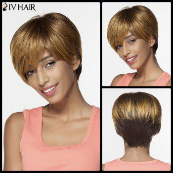 Siv Side Bang Colormix Short Silky Straight Pixie Human Hair Wig