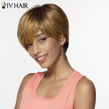Siv Side Bang Colormix Short Silky Straight Pixie Human Hair Wig - COLORMIX