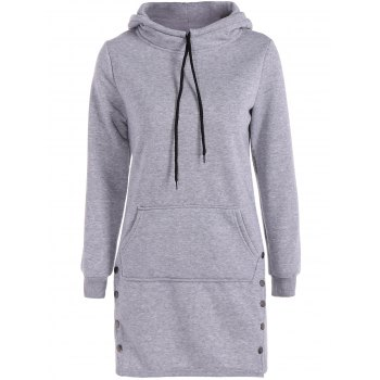 Kangaroo Pocket Button Long Hoodie