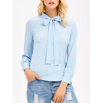 Pussy Bow Tie Long Sleeves Blouse