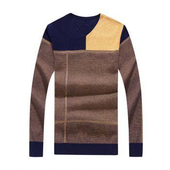 Slim Fit Color Block V Neck Sweater