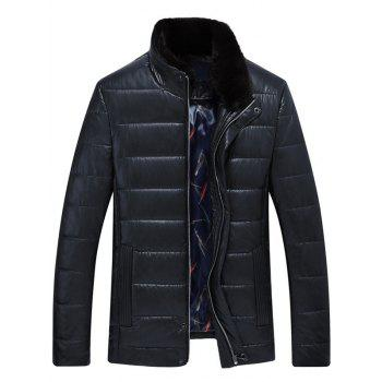 Zip Up Stand Collar PU Leather Padded Jacket