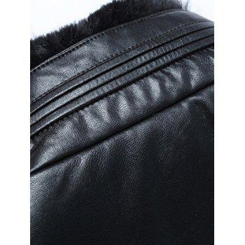 Zip Up Stand Collar PU Leather Padded Jacket - LIGHT COFFEE 2XL