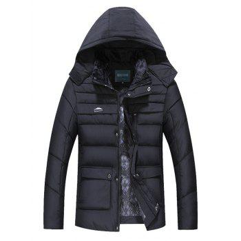 Quilted Zipper Up Flap Pocket Hooded Coat