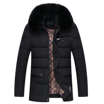 Quilted Faux Fur Collar Zipper Up Coat