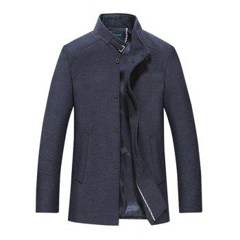 Stand Collar Button Up Wool Mix Coat