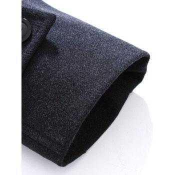 Stand Collar Button Up Wool Mix Coat - BLACK GREY 2XL