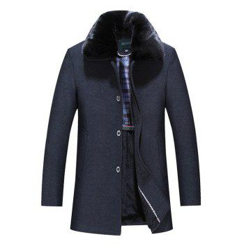 Faux Fur Collar Single Breasted Wool Mix Coat