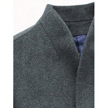 Slimming Single Breasted Stand Collar Wool Mix Coat - GRAY XL