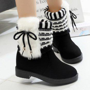 Knit Insert Faux Fur Short Boots