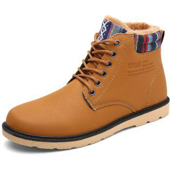 PU Leather Tie Up Striped Pattern Boots - LIGHT BROWN LIGHT BROWN