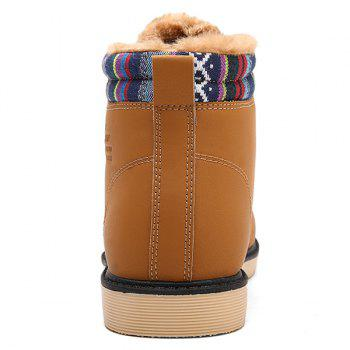 PU Leather Tie Up Striped Pattern Boots - LIGHT BROWN 43