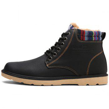 PU Leather Tie Up Striped Pattern Boots - BLACK BLACK