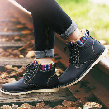 PU Leather Tie Up Striped Pattern Boots - 43 43